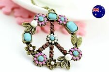 Women BOHO Purple Flower Retro Bohemian Peaceful Symbol Necklace Long Chain