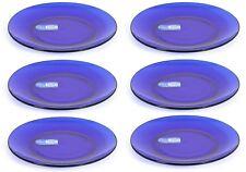6x Duralex Lys Shapir verre bleu dessert côté cacke assiettes 19 cm