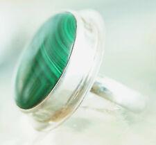 Schlicht Elegant Groß Massiv Malachit Oval Silber Ring 53 Handarbeit Grün Modern