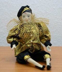 Pierrot Puppe, Harlekinpuppe. Sammlerpuppe, Porzelanpuppe