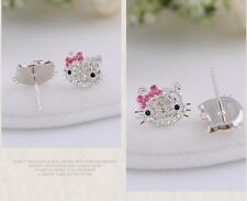 Sterling Silver Swarovski Elements Crystal Hello Kitty Stud Earrings Gift Box