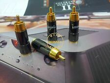 4Pcs Eutectic Brass Gold Plated RCA Connector Plug 8mm Diameter