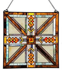 """17"""" Mission Style Stained Glass Suncatcher Window Panel Hanging Wall Decor Art"""