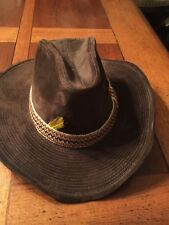 GW Brown Cowboy Country Western Velvet Hat with removable Headband feather 7 1/4