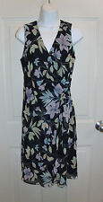 DJ Summers Navy Blue Floral Lillies & Leaves Dress Size 6