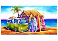 DEBORAH BROUGHTON ART Greenie Surf Kombi Panoramic Canvas Print: Choose a size