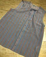 V-8~ Frame Womens button front sleeveless silk blouse BLUE STRIPE Size L
