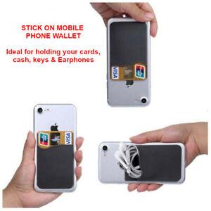 Wallet Credit Card Cash Holder Pouch Stick-On Mobile Phone Pocket - UK Stockist
