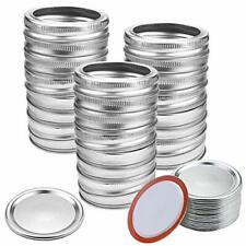 48 Pieces Regular Mouth Mason Jar Lids and Bands 24set Silver Canning Lids Seals