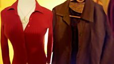 2 NEW XS TOPS Express Rust cable Sweater, Brown 100% Linen Shell-Overblouse Set