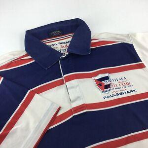 Men's Paul & Shark Short Sleeve Shirt Casual Blue / White / Red Size - L