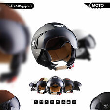 MOTO H44 + JET-HELM + MOTORRAD-HELM ROLLER-HELM RETRO VINTAGE LEDER XS S M L XL