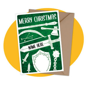 PERSONALISED CHRISTMAS CARD - Weapons - personalized gamer medieval xmas holiday