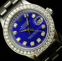 Rolex Ladies Datejust Oyster Stainless Blue Diamond Dial Bezel Watch