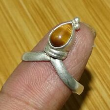 Tigers Eye Gem Stone 925 Sterling Silver Overlay Ring Size 7.5 Us Tig22