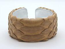 "Handmade in USA 1.25/"" Camel Tan Matte Genuine Python Cuff Bracelet"