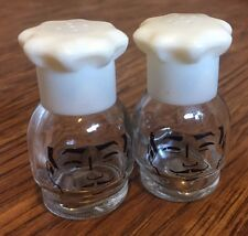 Vintage CHEF HAT SALT & PEPPER SHAKERS Glass French MAN FACE Miniature