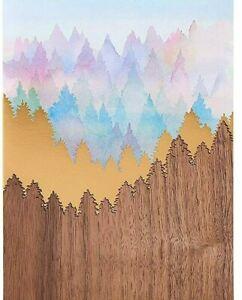 Papyrus Blank Card  -Beautiful Laser-Cut Wood & Watercolor Mountain Scene + Gold