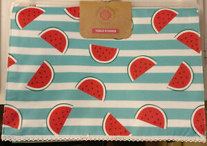 """TABLE RUNNER WATERMELON SLICES 14"""" X 72"""" SUMMER SEASONAL BARBECUE PICNIC"""
