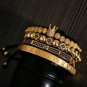 4 PCs / Set Men 14K Gold Luxury Zircon Paved Bracelet Sets Fine Charm Jewelry