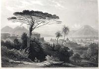 Italy, GULF OF NAPLES CITY CHURCHES MOUNT VESUVIUS ~ 1843 Art Print Engraving