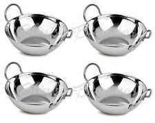 Set of Four 18cm Indian Restaurant Style Balti Curry Dish Bowls Stainless Steel