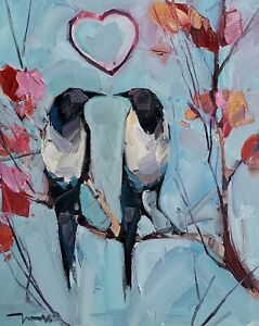JOSE TRUJILLO Oil Painting IMPRESSIONISM 16X20 LOVE BIRDS COLLECTIBLE ARTIST NR