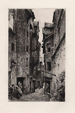 "1800s William LOCKHART Etching ""Advocate's Close, Old Town Edinburgh"" SIGNED COA"