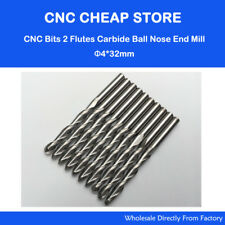 10pcs Ball Nose Carbide Endmill Double flute Sprial Cnc Router Mdf Bits 4mm 32mm