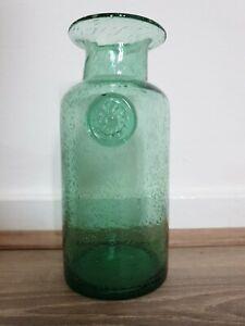 Green Glass Floral Vase