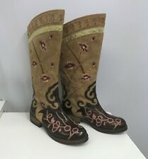 Vintage Beverly Feldman Leather Western Boots Brown Mauve Embroidered Flowers 8M
