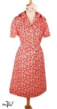 Shirtwaist 70s Dress in Red & White Floral - Waffle Weave Skirt - Sz L - Hey Viv