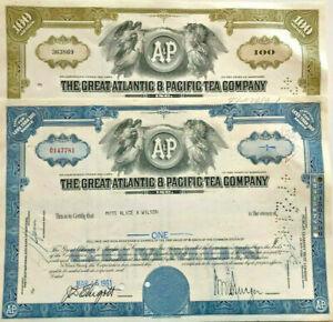 Set of 2 > A&P supermarket store Great Atlantic & Pacific Tea stock certificates