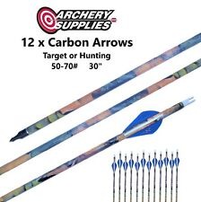 """Carbon Arrows x12 - 50 to 70#, 30"""" - Compound / Recurve Target / Hunting Archery"""