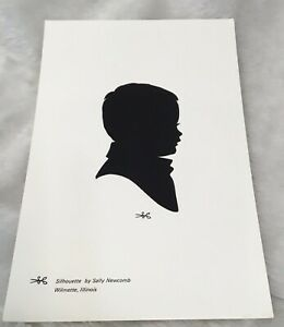 vintage Silhouette  young child boy girl 1990's black & white 9x6