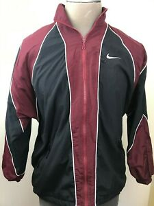 Nike Mens Workout Athletic Track Jacket Dark Red Black Zipper Front Lined Medium