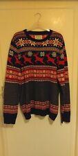 Mens Burton Menswear Christmas Jumper Sweater Stag Snowflake Size Large
