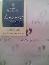 New Baby Girl Luxury Giftwrap Baby Feet Pink Wrapping Paper, Tag and Ribbon