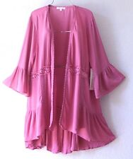 NEW~Rose Pink Crochet Lace Peasant Blouse Ruffle Duster Boho Plus Top~28/30/3X