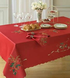 Arlee Holiday Nouveau Cutwork Embroidered Plaid Table Runner One Size Red
