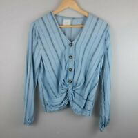 Harper Women's Cropped Blouse Long Sleeve Chambray Blue Striped Size Small