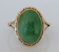 Beautiful Vintage 9ct Gold Green Moss Agate Ring Size O