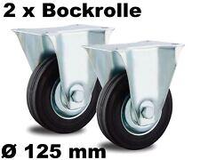 2 Transport-Rollen 125mm Kugel-lager Stabil Voll-gummi schwarz außen u innen 125