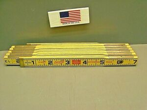Lufkin X46 6' Red End  Wood Folding Rule Brass Slide New USA