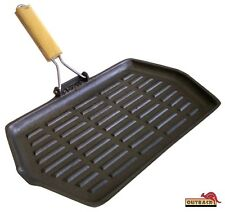 Rectangle Cast Iron Grill: Skillet Pan/ Foldable Wooden Handle 35x21cm