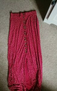 Next Red Spotty Button Down Maxi Skirt Size 8