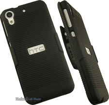 BLACK RIBBED HARD CASE COVER + BELT CLIP HOLSTER STAND FOR HTC DESIRE 626s 626
