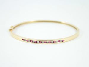 Diamond & Ruby Bangle 10K Gold Ladies Stunning Bracelet 8g Ex29