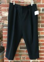 Anne Klein Womens Pants Black Crop Stretch Pleated Career Size 12 34 x 22 NEW