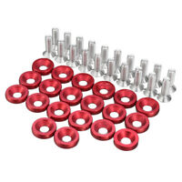 20pcs Red CNC Aluminum Bumper Fender Washer Bolt Engine Bay Dress Up Kit M6x15mm